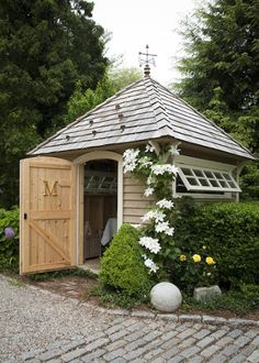This article contains 15 garden shed ideas. We look at some very interesting and beautiful garden shed to inspire you to create a masterpiece in your garden. Garden Buildings, Garden Structures, Outdoor Sheds, Outdoor Gardens, Shed Design, Garden Design, Patio Design, Roof Design, Shed Landscaping