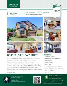 Real Estate for Sale at $383,500! Come and view this gorgeous four plus bedroom, two full and one half bath, 2000 square foot two story Felida craftsman style home on a .14 acre lot with RV parking located at 316 NW 114th Street, Vancouver, Washington 98685 in Clark County area 41 which is the North Hazel Dell or Felida area in Vancouver. The RMLS number is 18183881. It has one gas burning fireplace and is not considered to be a view home. It was built in 2009 and has an attached two car…