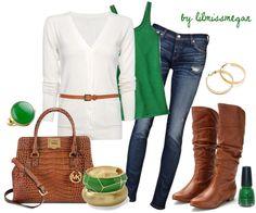 Jade green & tan.