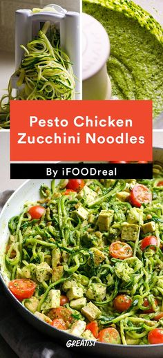 6. Pesto Chicken Zucchini Noodles #healthy #weeknight #dinners http://greatist.com/eat/clean-eating-recipes-for-busy-weeknights: