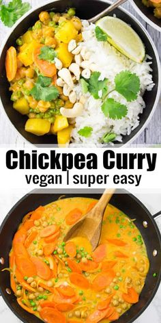 This easy vegan chickpea curry with potatoes peas and carrots is perfect for quick weeknight dinners It s one of my favorite vegan recipes Healthy delicious and comforting Quick Easy Vegan, Easy Vegan Dinner, Vegan Dinner Recipes, Vegan Dinners, Vegan Recipes Easy, Whole Food Recipes, Vegetarian Recipes, Cooking Recipes, Vegan Recipes With Potatoes