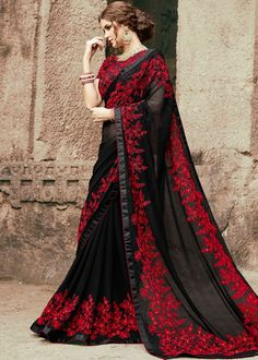 Check Out Myntra Luxury Embroidered Chiffon Saree Collection Replica at Master Replica Pakistan Call/WhatsApp: Chiffon Saree, Georgette Sarees, Georgette Fabric, Silk Sarees, Latest Indian Saree, Indian Sarees, Latest Sarees, Party Kleidung, Saree Trends