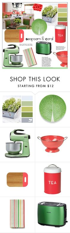 """Kitchen * Seafoam and Coral"" by pat912 ❤ liked on Polyvore featuring interior, interiors, interior design, home, home decor, interior decorating, Tory Burch, Sunbeam, Dot & Bo and Philips"