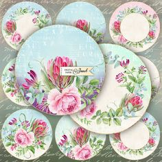 Sweet Tags  2.5 inch circles  set of 12  digital by bydigitalpaper