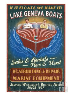 Lake Geneva, Wisconsin - Boat Shop Art Print by Lantern Press at Art.com