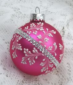 Hot Pink Hand Painted 3D White MUD Textured Floral Design Ornament with Bling 210