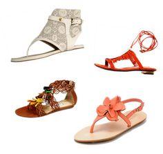 Rasteira - Primavera/Verão 2013.  A cada nova primavera-verão temos o prazer de apreciar cada vez mais opções de sandálias rasteiras. As rasteirinhas sempre são resgatadas no âmbito da moda por serem extremamente versáteis e confortáveis. Modelos rebuscados, elegantes, e sofisticados que acompanham muito bem a mulher que gosta de um look irreverente e outras mais simples para o dia-a-dia e até a praia. Diversas opções de cores, texturas, formas , estampas abrem um grande leque de opções.