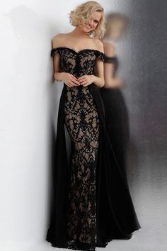 JVN by Jovani 62489 off the shoulder lace prom dress Embellished Gown 2020 Train Lace Evening Dresses, Prom Dresses, Black Evening Gowns, Black Ball Gowns, Elegant Evening Gowns, Evening Party Gowns, Jovani Dresses, Dress Prom, Pretty Dresses
