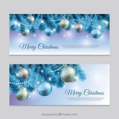 Realistic banners with christmas balls Free Vector