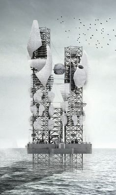 World Architecture Community News - Bio-Rig is the new setting for new energy sources designed by Julien Nolin Conceptual Architecture, Architecture Graphics, Architecture Student, Architecture Drawings, Futuristic Architecture, Landscape Architecture, Architecture Design, New Energy Source, Parasitic Architecture