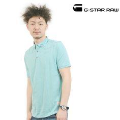 G-STAR RAW (ジースターロー) ポロシャツ ターコイズ ボタンダウン FIFTIES POLO T S/S ps-gs-014