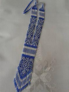 Ukrainian blue Gerdan traditional Ukraine necklace Handmade