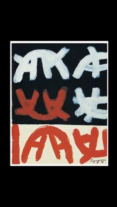 """Giuseppe Capogrossi - """" Senza titolo """", c. 1961/1962 - Tempera su cartoncino nero  - 24,5 x 19,5 cm"""
