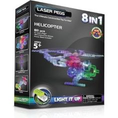 Explore the land and skies with this exciting 8 in 1 Helicopter kit from Laser Pegs! Put your building skills to the test with the Speedster, Sand Rover, or the Medic Space Cruiser just to name a few. When you're finished building, light up your creations to fully expand your horizon!