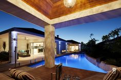 Alfresco patio backyard design. The Sentosa display home by #VenturaHomes with its swimming pool