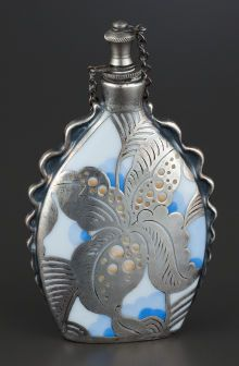 A German Porcelain Perfume Bottle with Silver Overlay,   Rosenthal Ltd, Selb, Germany, circa 1930