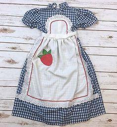Vintage 70s Girl Size 4 Blue White Gingham Apron Maxi Dress Strawberry Youngland  | eBay