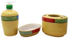 Bulk Wholesale Handmade Ceramic BathAccessories Set (3 Items) – HandPainted MultiColor Geometric Bath Ensemble / Vanity Set