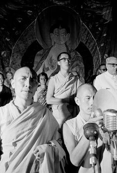 INDIA. Delhi. 14th Dalai Lama. Behind him, standing in the rear is Indira GANDHI. Opening of TIBET HOUSE October 26th, 1965.