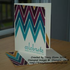 A striking design created using Bohemian DSP and Fabulous Four stamp set from Stampin' Up!  http://tracyelsom.stampinup.net