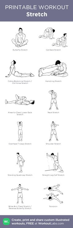 Stretch:my visual workout created at WorkoutLabs.com • Click through to customize and download as a FREE PDF! #customworkout