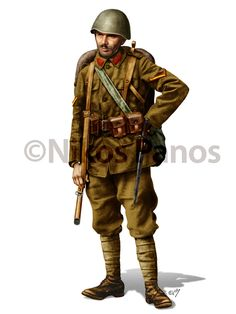Esercito Greco - Infantry lance corporal in full battle order displaying standard kit.Collar patches were usually removed, both for security and low visibility - Nikos Panos on Behance Military Men, Military History, Ww2 Uniforms, Military Uniforms, Hellenic Army, Army Drawing, Greek Soldier, Uniform Insignia, Greek History