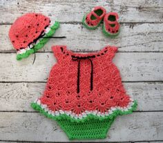 Watermelon Baby Dress Set Crochet Newborn by CreativeDesignsbyAmi