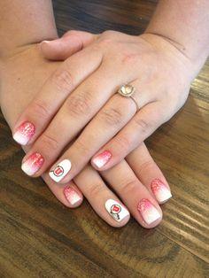 University of Utah ombré nails. Colorful Nail Designs, Cute Nail Designs, Christmas Nail Designs, Christmas Nails, Acrylic Nails, Gel Nails, Dip Manicure, Football Nails, Star Nails