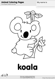 free koala coloring page from super simple learning tons of free animal worksheets and flashcards