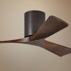 """No light 42"""" Matthews Irene 3-Blade Walnut-Bronze Hugger Ceiling Fan"""