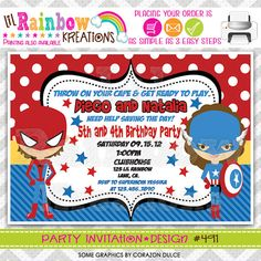 491 DIY Super Hero 9 Party Invitation Or Thank by LilRbwKreations