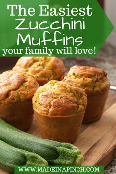 Zucchini muffins that the entire family will go crazy for with the added bonus that they are healthy. Zucchini Muffins - Zucchini muffins are a great family snack! Grab our recipe for the easiest zucchini muffins you've ever made. And the most delicious Zucchini Bread Muffins, Zucchini Muffin Recipes, Healthy Muffins, Recipe Zucchini, Easy Zuchinni Bread, Easy Zuchinni Recipes, Baking Muffins, Easy Healthy Recipes, Gourmet Recipes