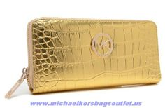 Authentic Michael Kors Python-embossed Wallet Gold For Sale