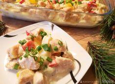 Zapiekanka z kurczakiem w sosie serowym Potato Salad, Potatoes, Chicken, Meat, Dinner, Ethnic Recipes, Food, Dining, Potato
