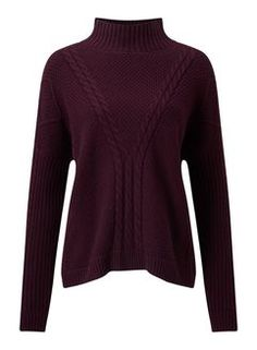 Plum Cable Chunky Knitted Jumper