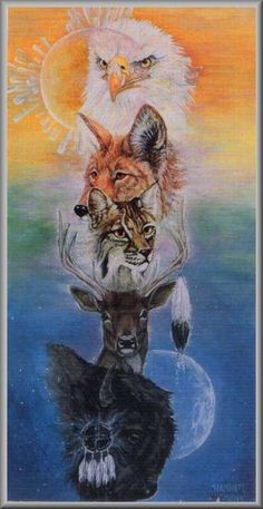 Indian totem wolf eagle Cross Stitch Pattern pdf by coinchantal