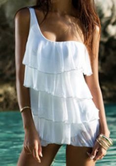 Sweet One-Shoulder Solid Color Multi-Layered One-Piece Swimsuit For Women Swimwear | RoseGal.com Mobile