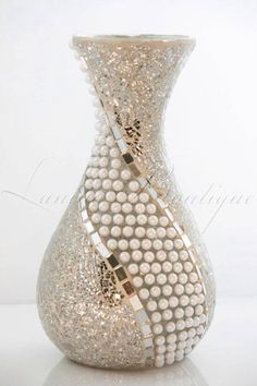 **Stunning - Silver GLASS nd MIRROR MOSAIC - Handmade Vase with White Pearls **