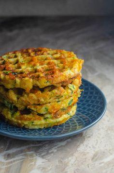 Savory Cheddar Zucchini Waffles (Gluten-Free, Grain-Free) - The Harvest Skillet Zucchini Waffles, Savory Waffles, Breakfast Waffles, Breakfast Recipes, Pancakes, Zuchinni Recipes, Veggie Recipes, Low Carb Recipes, Vegetarian Recipes