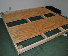 DIY Bed Frame For Less than $30             Add a headboard, and this could be a doable way to replace my bed for decent price!