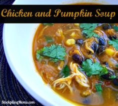 Crockpot Chicken and Pumpkin Soup is a healthy dinner recipe that the whole family will love!