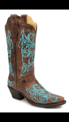 Brown and  turquise western boot