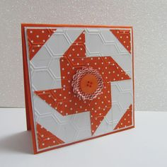 Stampin' Up! ... hand crafted quilt card ... orange and white ... used square punches ... embossed with honeycomb texture ... bright and cheerful look ...