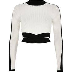 River Island Black and white ribbed turtleneck crop top ($70) ❤ liked on Polyvore featuring tops, sweaters, black, knitted tops, knitwear, women, cropped turtleneck sweater, ribbed crop top, cropped turtleneck and crop top