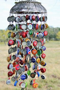 Recycled bottle tops and colander.