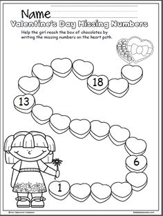 Write the missing numbers from 1-20 on this Valentine's Day math worksheet.