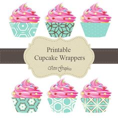 Cupcake wrappers aqua design by VetroGraphics on Etsy, $3.50