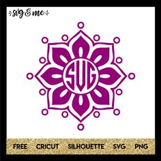 I'm in love with this floral looking mandala free svg that'll be great for personalized gifts like tumblers, notebooks, etc. Try it in a gold foil or glitter cardstock. Check out our tutorial on how to create a monogram. Compatible with Cricut, Silhouette, and other cutting machines.