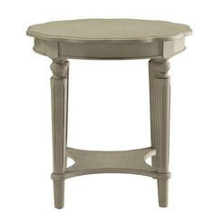 The French country-inspired Fordon occasional table is gracefully designed and made from quality materials. Scalloped round table top, turned legs and a bottom shelf, each piece is carefully crafted while superb functionality is kept in mind. White End Tables, Coffee And End Tables, Acme Furniture, Living Room Furniture, Furniture Dolly, Cheap Furniture, Painted Furniture, Cozy Living Spaces, Living Rooms