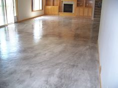Marble Stained Concrete Floors | Concrete overlay floor using Elite Crete products. A marbleized gray ...